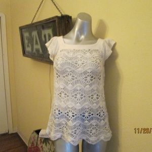 Beautiful White Crochet Tunic Med Flared